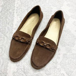 Coach Fortunata Brown Suede Driving Shoe Loafers